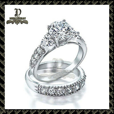 2Ct Round Cut Diamond Solitaire Bridal Set Engagement  Ring 14k White Gold Over