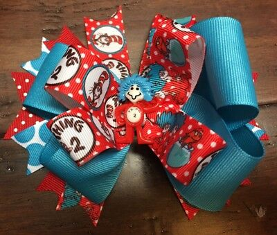 Dr Seuss Thing 1 or Thing 2 hair bow Homemade school Red Blue Cat-in-the-Hat