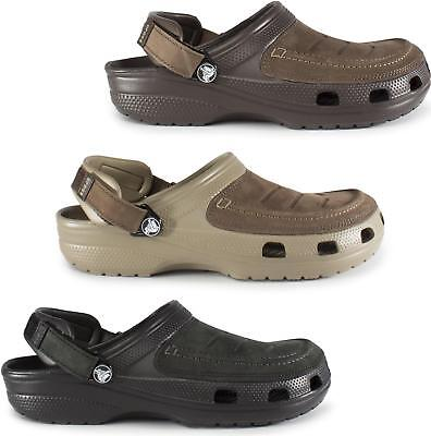 Crocs YUKON VISTA 205177 Mens Leather Touch Fasten Wide Fit Casual Summer Clogs