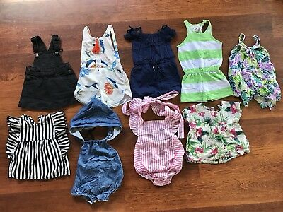 Girls Size 1 Bulk Lot Mixed Clothes- Rompers, Tops, Playsuits, Havaianas, Boots