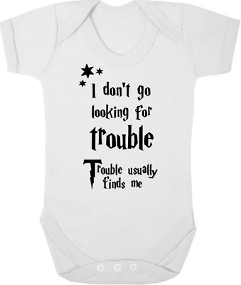 HARRY POTTER Bodysuit/Grow/Sleep Suit Baby Shower I DON'T GO LOOKING FOR TROUBLE