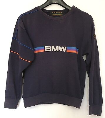 Vintage 80's Style Auto BMW Spellout Navy Blue Retro Sweatshirt Mens Medium