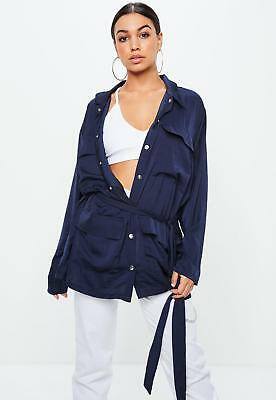 3b0e15d73a69b9 Missguided X Carli Bybel Navy Satin Field Jacket Size 8 New With Tags