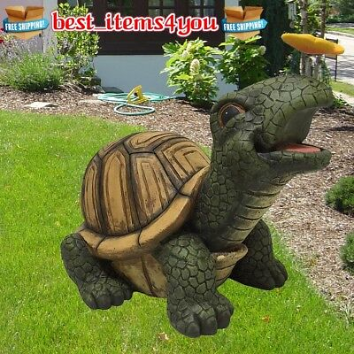 Large XXL Turtle Statue w/ Butterfly Outdoor Garden Lawn Porch Yard Cute Decor