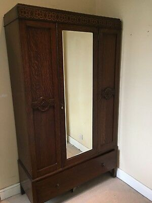 Solid Wood Antique Georgian Wardrobe, with mirror door.