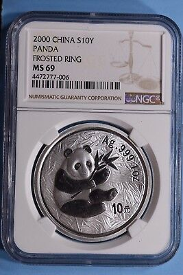 2000 Silver Panda  Frosted Ring  Ms 69