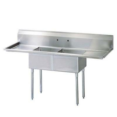 Turbo Air - TSA-2-D1 - 72 1/2 in Two Compartment Sink w/ 18 in Drainboards