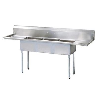 Turbo Air - TSCS-3-23 - 72 in Three Compartment Sink w/ 15 in Drainboards