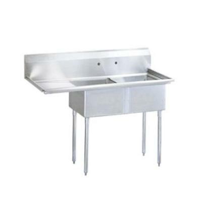 Turbo Air - TSB-2-L2 - 75 in Two Compartment Sink w/ 24 in Left Drainboard