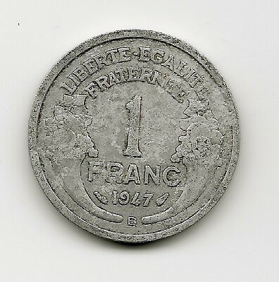 World Coins - France 1 Franc 1947 Coin KM # 885a ; Lot-F3