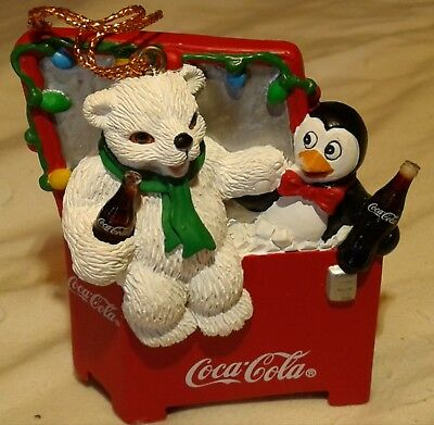 Coke Christmas Ornament (ice chest with penguin and bear) 1997
