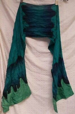 "Vintage Ladies Fashion Long Silky All Seasons Scarf 70""×12"" Dark Blue / Turquois"