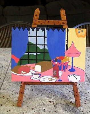 """30's Vintage 8"""" x 6"""" Art Deco Primitive Dinner Setting Painting with Wood Stand"""