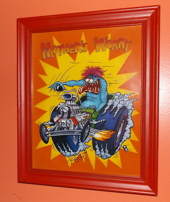 Vtg Signed BIG DADDY ED ROTH Framed Art Print Autographed Mother's Worry Large