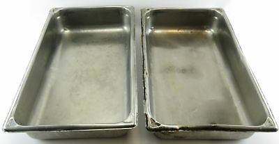 "Lot 2 Full Size 20' x 12"" 4"" Stainless Steel Steam Table Food Pan Tray 11493"