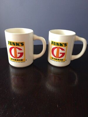 Vintage Funks G Hybrid Advertising Mugs Set Of 2 Funk Seed Corn Syrup Coffe Cups
