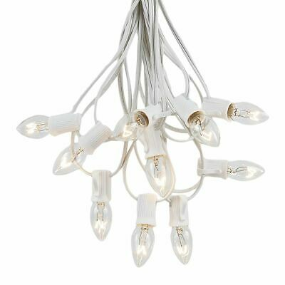 25 Foot C7 Christmas Light Set, Hanging Patio String Lights, White Wire