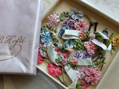 Box antique 1920s  silk ribbon roses and flower decorations - dolls