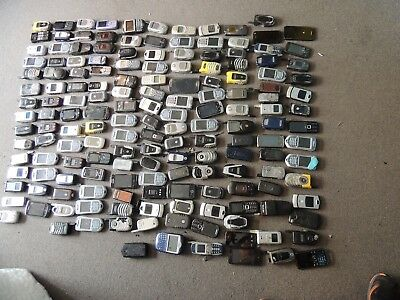 Lot of 165 Cell Phones for Scrap Gold Parts Recovery Flip Smart Phones  42 LB