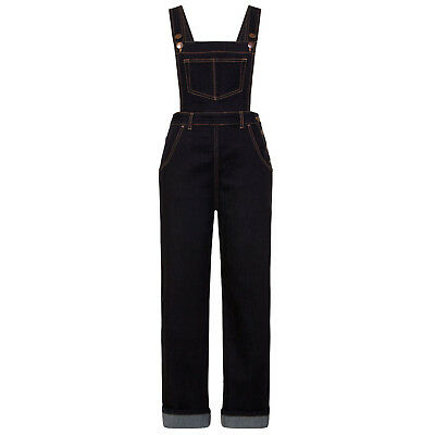 Hell Bunny Elly May Indigo Denim 1950s Rockabilly Dungarees Jeans Overalls
