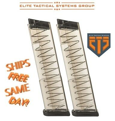 TWO x ETS Elite Tactical Systems 7-Round Magazines for Glock 43 9MM Luger GLK-43