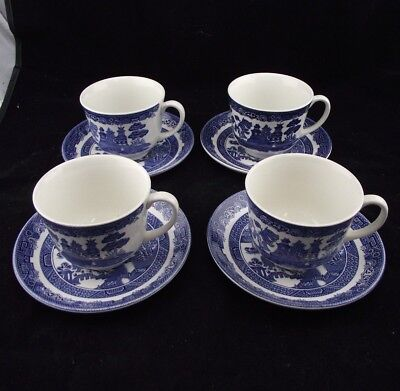 4  lot TEA CUPS AND SAUCERS   BLUE WILLOW  JOHNSON BROTHERS