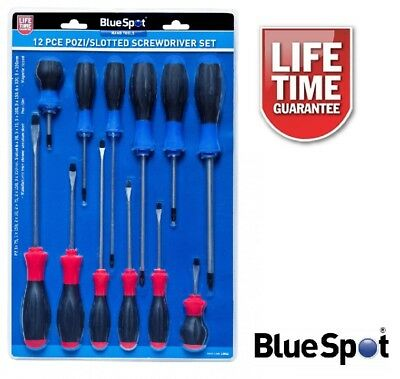 Bluespot 12 Piece Pozidrive And Slotted Cr V Screwdriver Set 12062 Freepost!