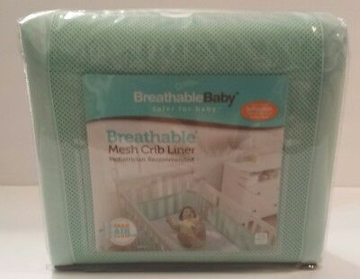 Breathable Baby Mint Green Mesh Crib Liner