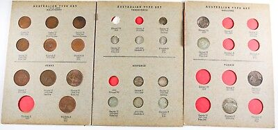 Australian Shilling, Half Penny, & Threepence Coin Book Set *Not Complete*