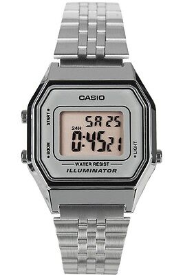 Casio LA680WA-7D Ladies Mid-Size Silver Digital Retro Vintage Watch Silver Dial