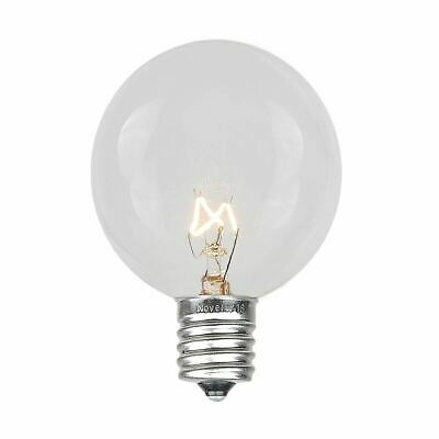 25 Pack G40 Outdoor Patio Globe Replacement Bulbs, Clear, C7/E12 Base