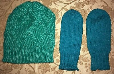 21efd14588f5e womens green MOSSIMO KNIT WINTER HAT JADE MITTENS GLOVES one size fits most  WARM