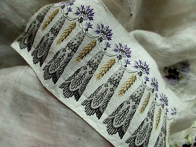 "ANTIQUE VICTORIAN FRENCH.19th FINELY DETAILED PRINT BLOCK TRIM PC COTTON 7"" x 3"""