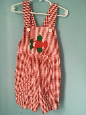 Vintage Boys Red And White Checkered Romper Airplane 4T Spring Summer Sun Suit