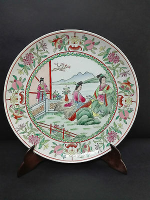 Vintage Antique Great Plate in Porcelain Chinese Canton Painted Decorations Hand