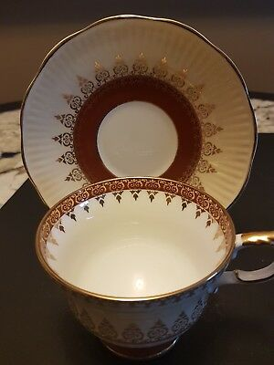 Rosina Footed Cup And Saucer Heavy Gilt Filigree Cream Ground