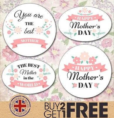 24x 40mm Happy Mother's Day Stickers/Seals Mummy/Mum/Floral/Shabby Chic/ Vintage