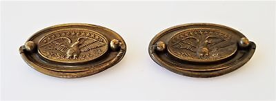 LOT vintage antique 2 METAL EAGLE DRAWER PULLS architectural salvage brass 3""