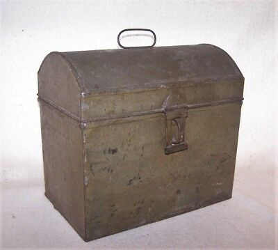Nice Large 19th C. Pennsylvania Tin Dome Top Document Box - Old Paint over Tole