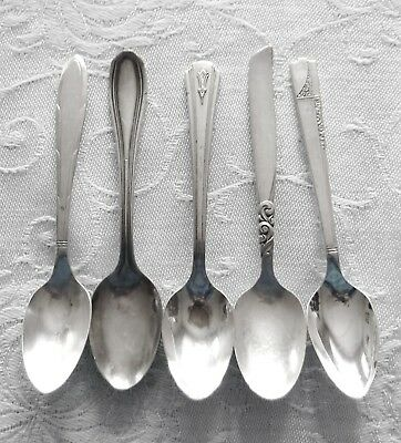 "5 ANTIQUE SILVERPLATE Demitasse Spoons South Seas Nobility Rogers 4.25"" 4.5"" LOT"