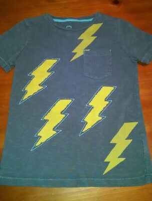 Mini Boden shirt 6 7 blue yellow lightning bolt