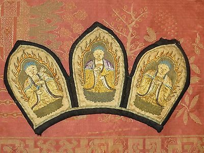 Rare Chinese Embroidered Crown Partial Diadem for Buddhist Priest 18th Cent