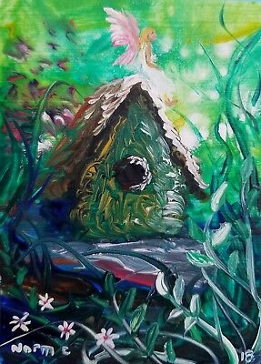 Aceo Original Fairy Bird House Flowers Garden Painting By Artist Norman Courtney