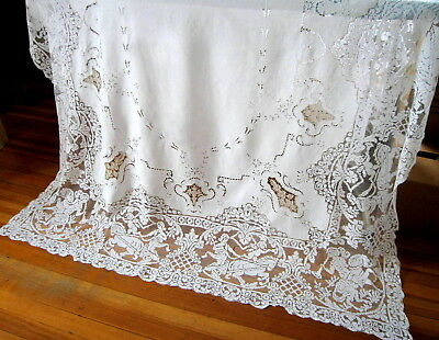 Antique Italian White Linen & Filet Figural Lace Embroidered Tablecloth 102 x 65
