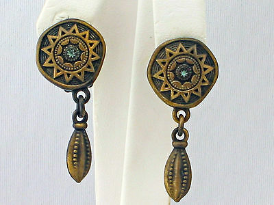 Vintage boho style brass plated earrings by MYKA - clip-on style