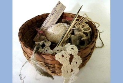 1894 LOT~antique victorian HAND MADE LACE, SEWING BASKET,THREAD,CROCHET NEEDLES