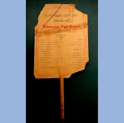 1913 antique *FUNNY*ADVERTISING HAND FAN~WILMINGTON de HIGH SCHOOL COMMENCEMENT