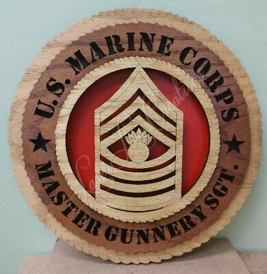 """Laser Cut 3D Wood Wall Tribute Plaque 11¼/"""" US Marine Corps Rifle Expert"""