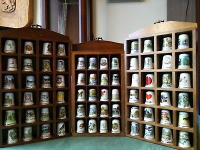 Thimbles collection bone China with display rack