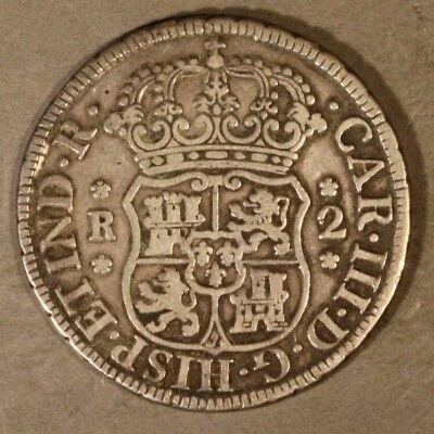 1769/8 PTS JR Bolivia 2 Reales Fancy 9 Overdate Rare ** Free U.S. Shipping **